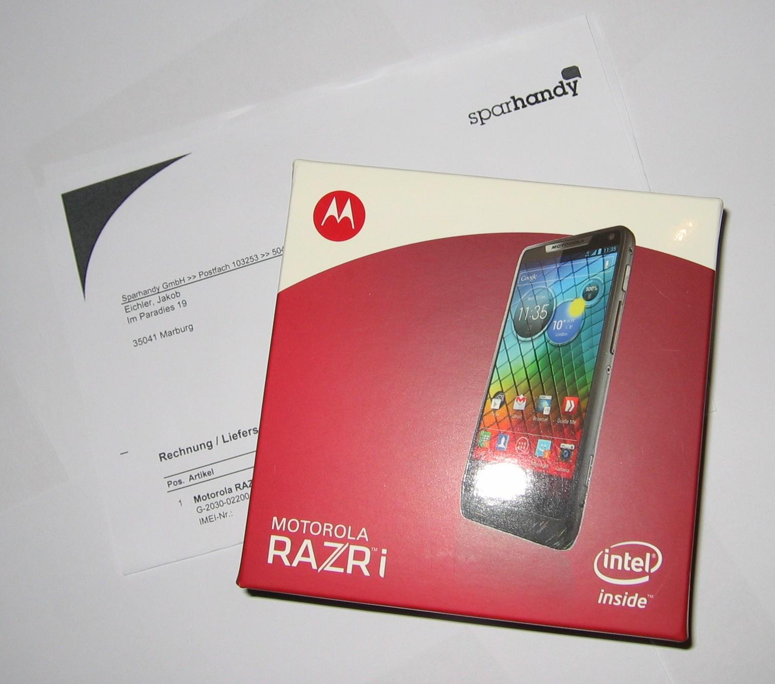 Motorola-RAZR I-Verpackung